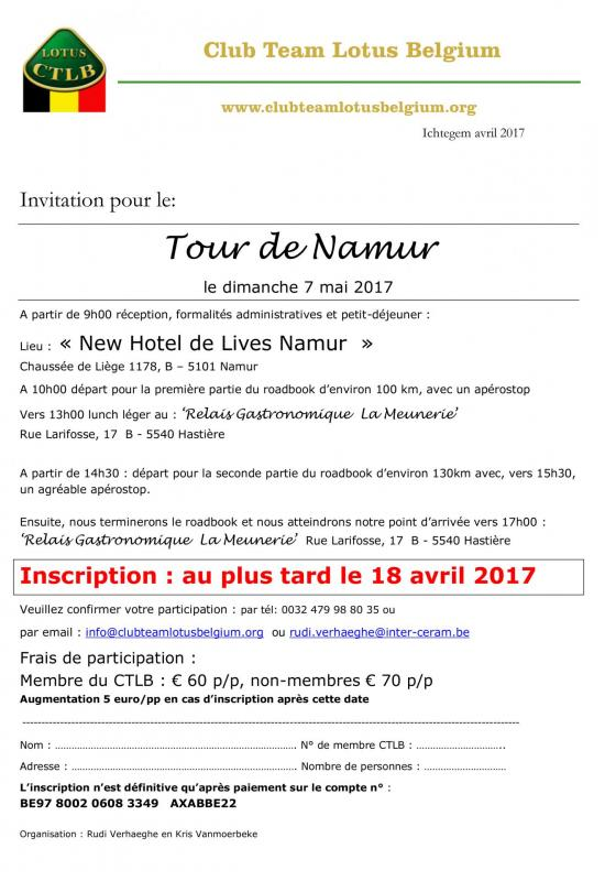 Invitation tour de namur 2017 2