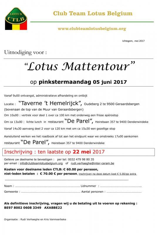 Uitnodiging lotus mattentour 2017