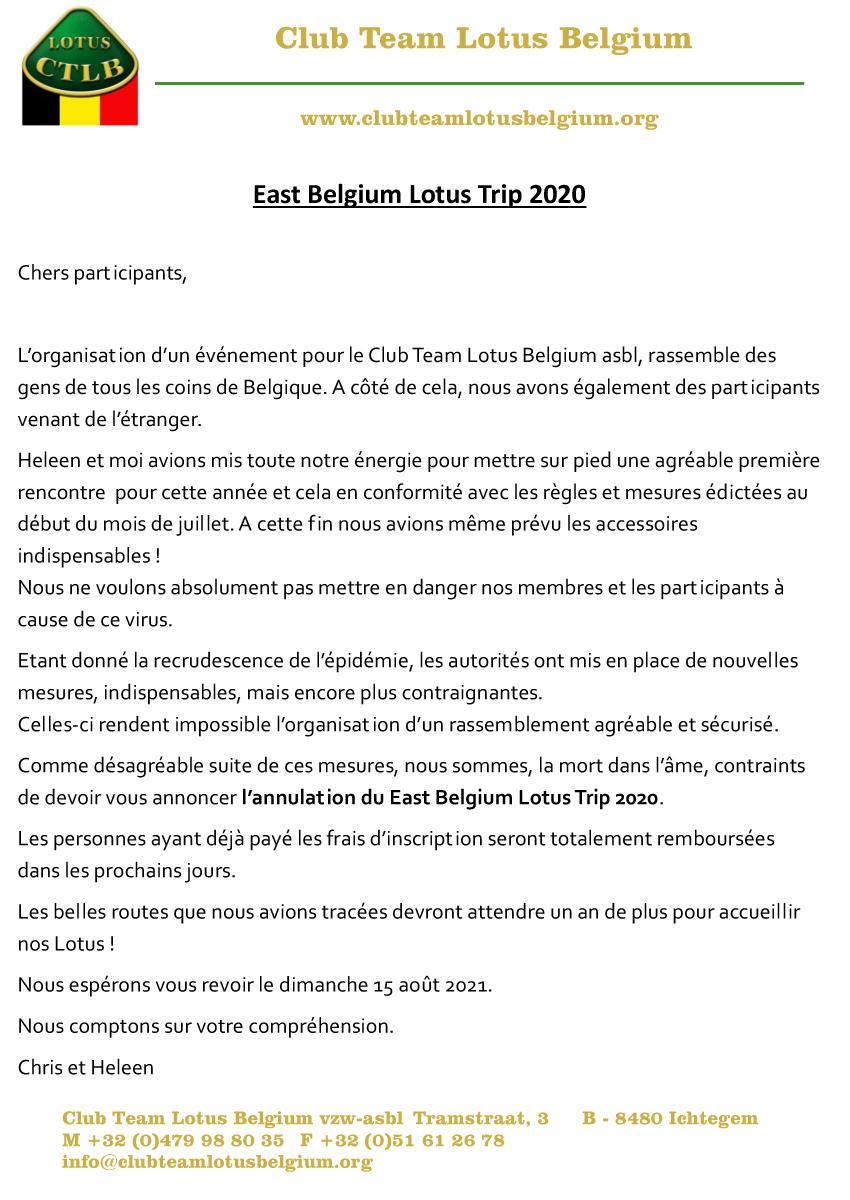 Annulation east belgium