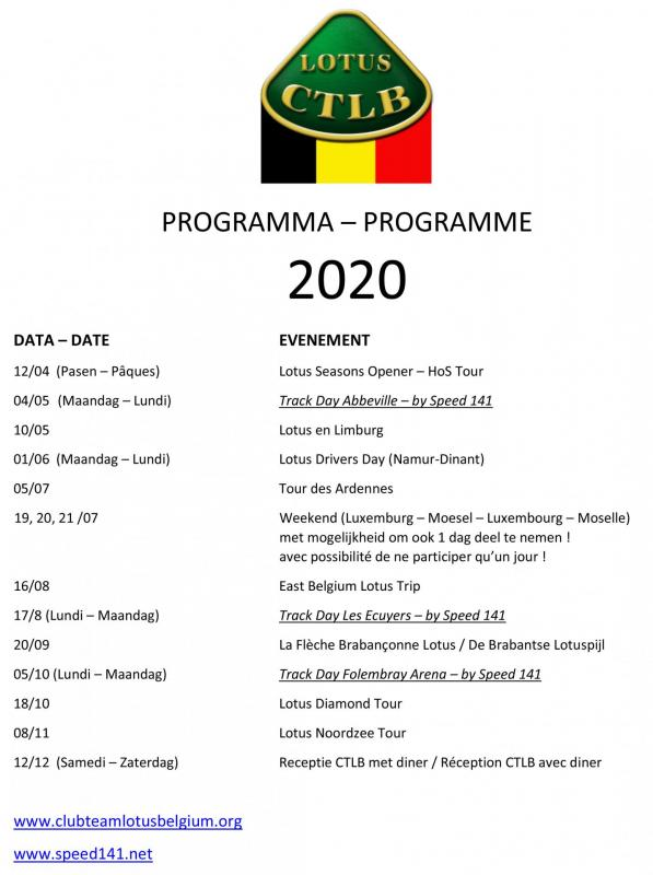 Calendrier 2020