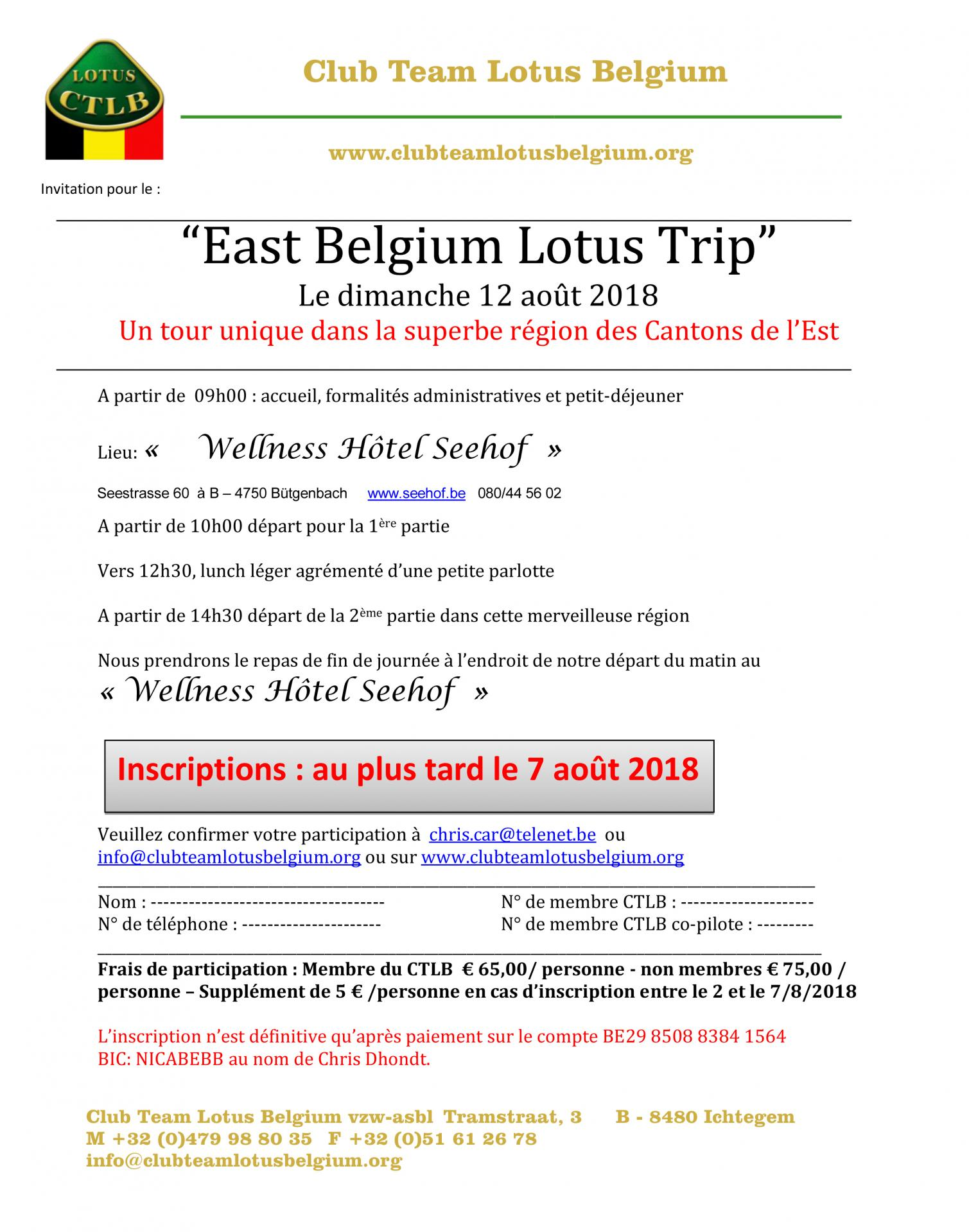 Invitation east belgium lotus trip 2018