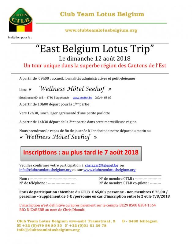 Invitation east belgium lotus trip 2018