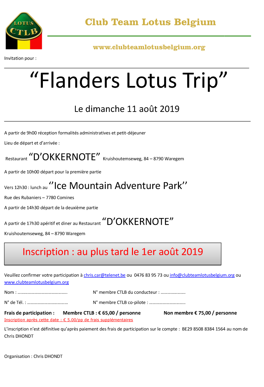 Invitation flanders trip 2