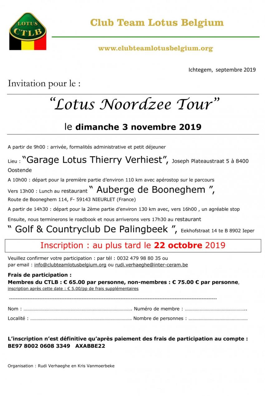 Invitation lotus noordzee tour 2