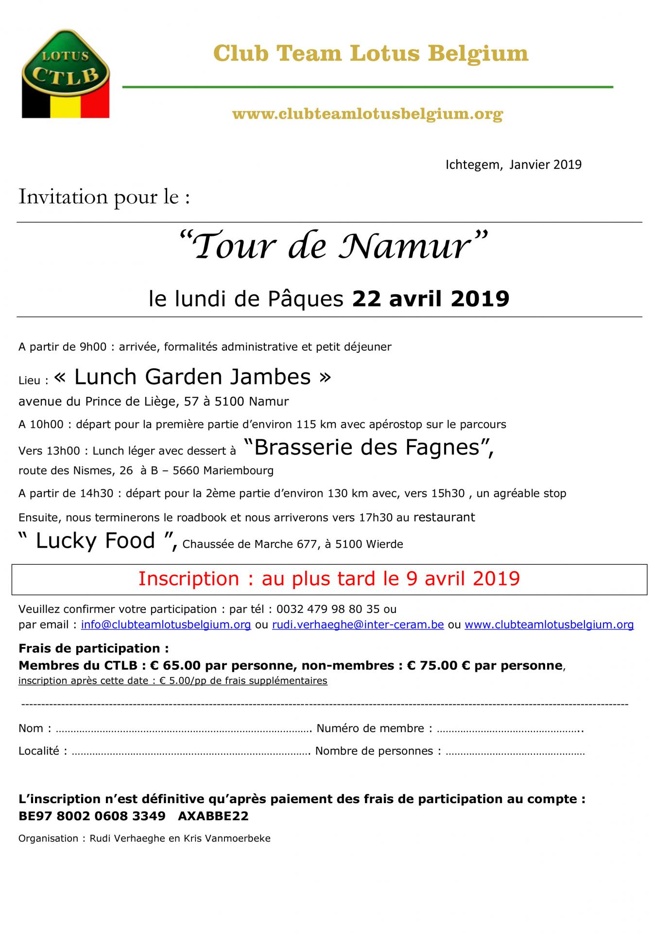 Invitation tour de namur 1
