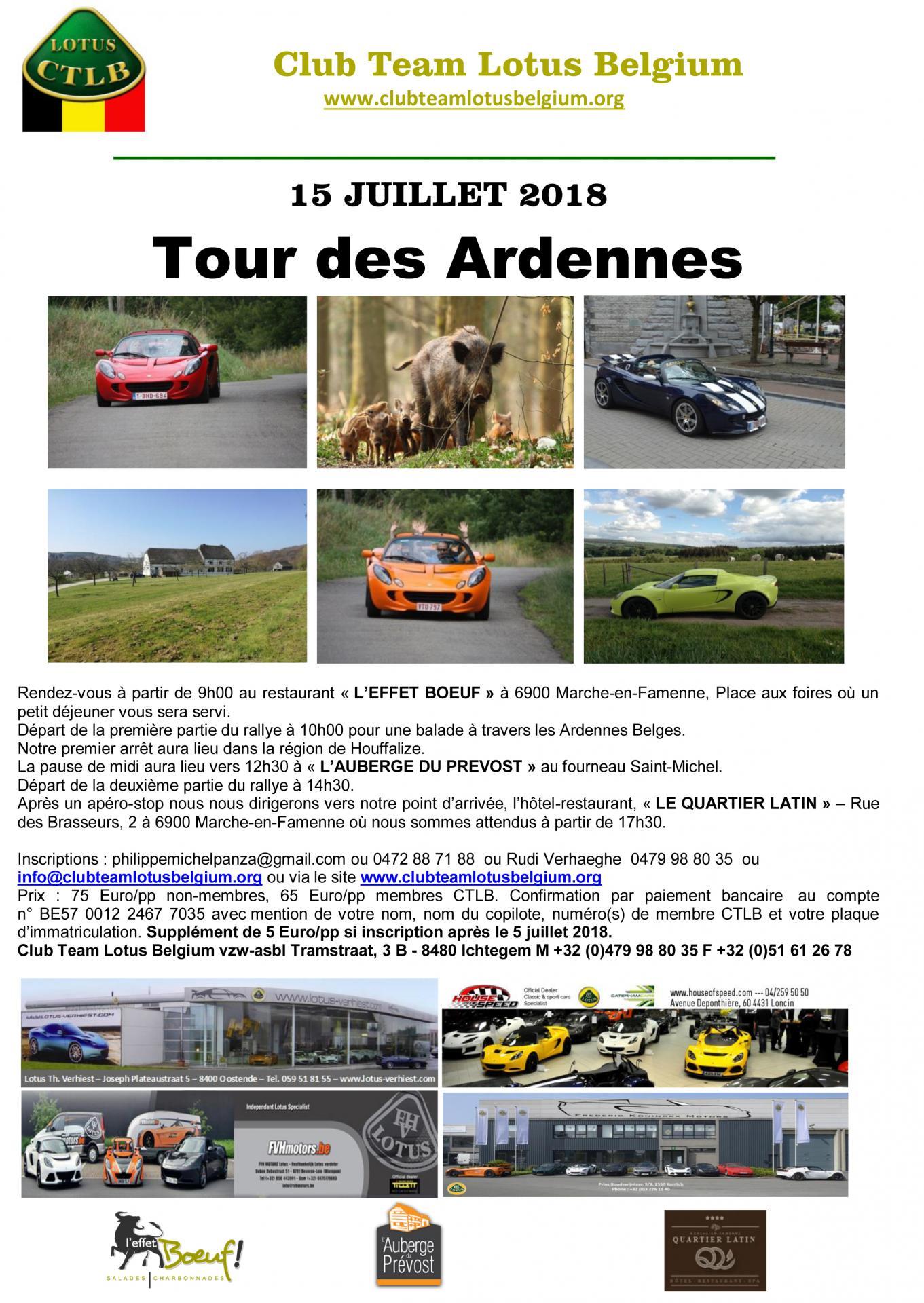 Invitation tour des ardennes 2018