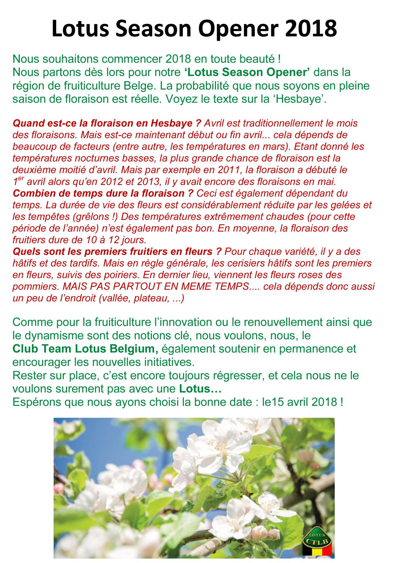 Presentation lotus season opener 2018