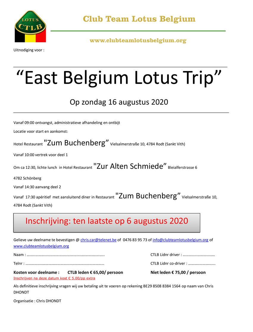 Uitnodiging east belgium lotus trip 1