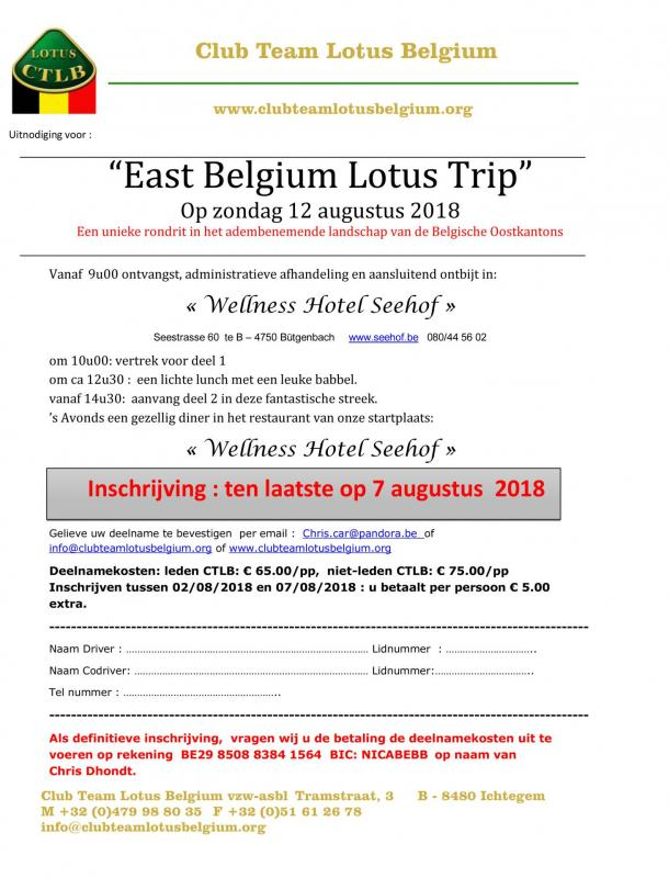 Uitnodiging east belgium lotus trip 2018